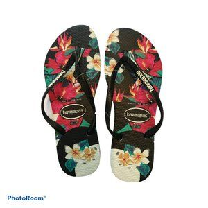 Havaianas Tropical Floral Slim Flip Flops NWT